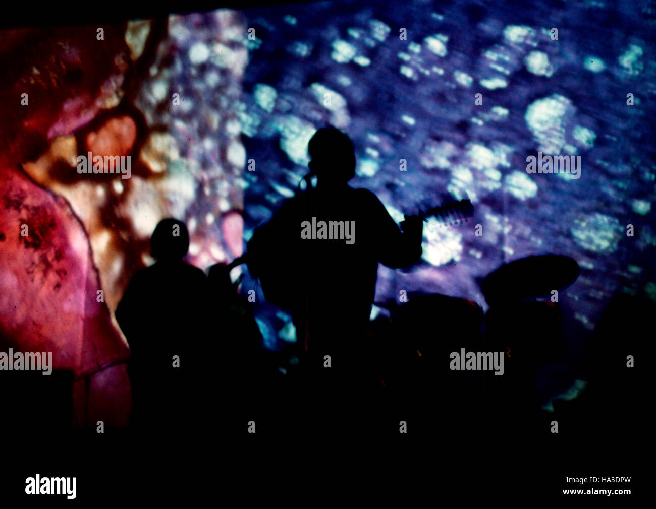 A Rock Band Performs With A Liquid Light Show In The Background, 1968. The  Band Is Unknown.