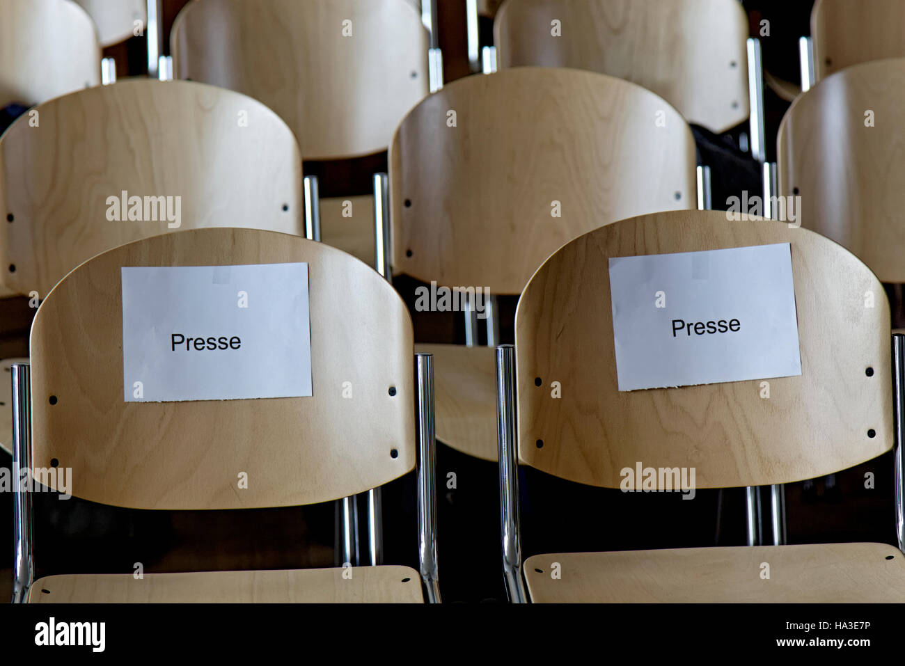 Chairs noted for the press, marked Presse, press section, District Court, Stuttgart, Baden-Württemberg, Germany - Stock Image