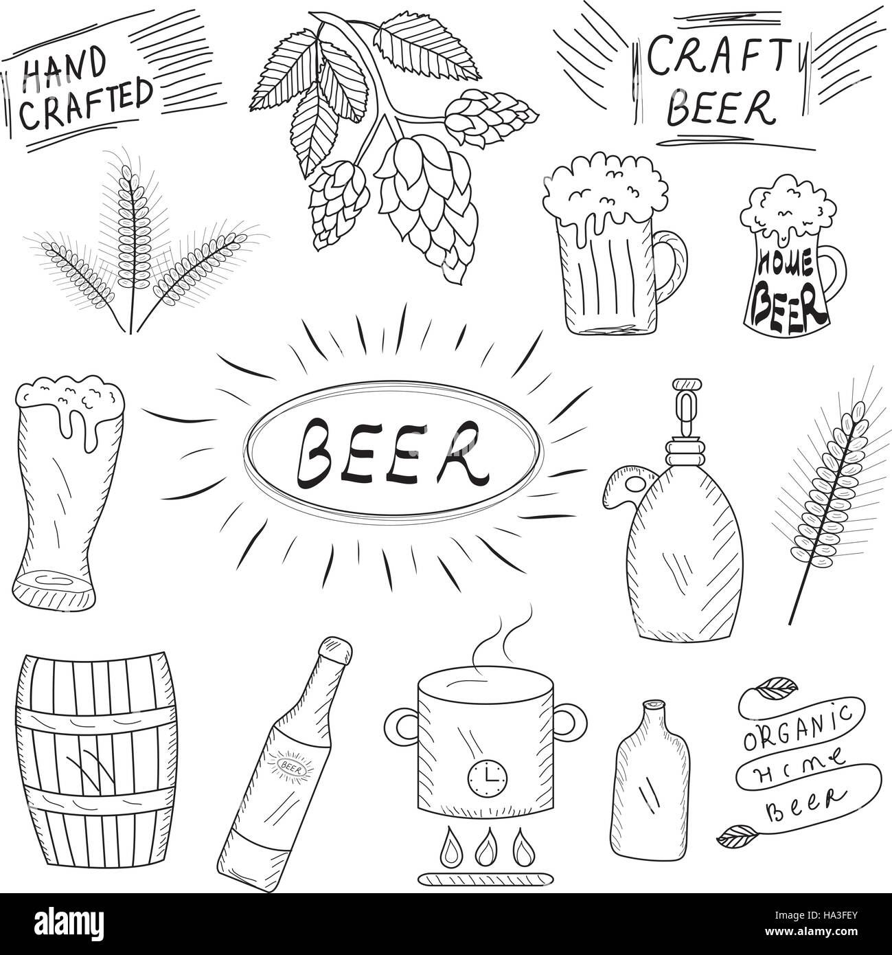 The set of hand drawn sketch of beer and home brewery. Home brewing ...