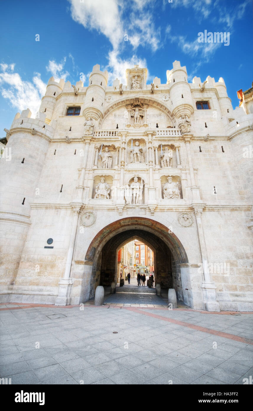 Scenic view of famous ancient arch of st mary in Burgos, Spain Stock Photo