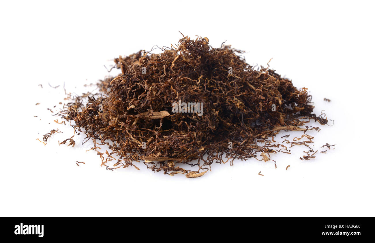 Cut dried leaves of tobacco for cigarettes isolated on a white - Stock Image