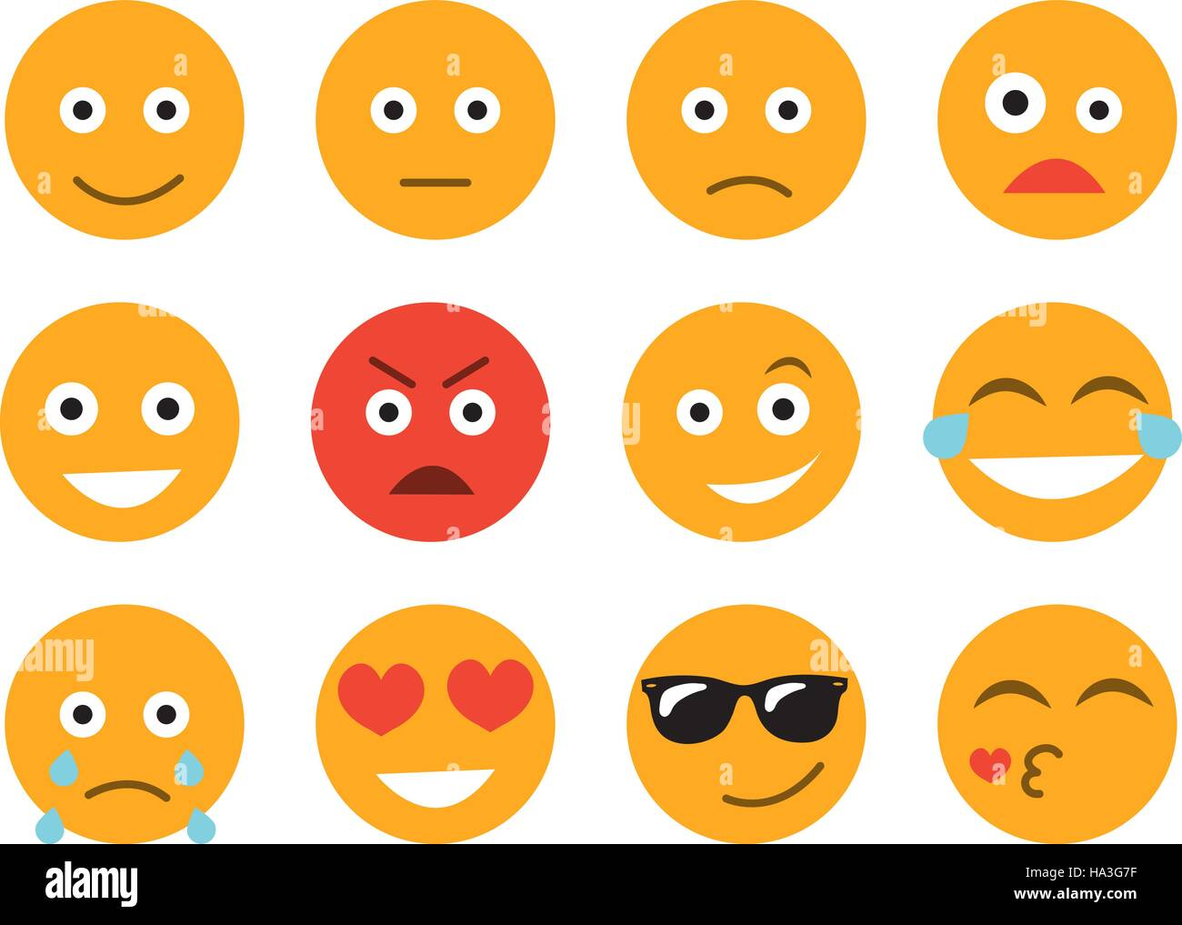 Emoticon vector illustration. Set emoticon face on a white background. Different emotions collection - Stock Image