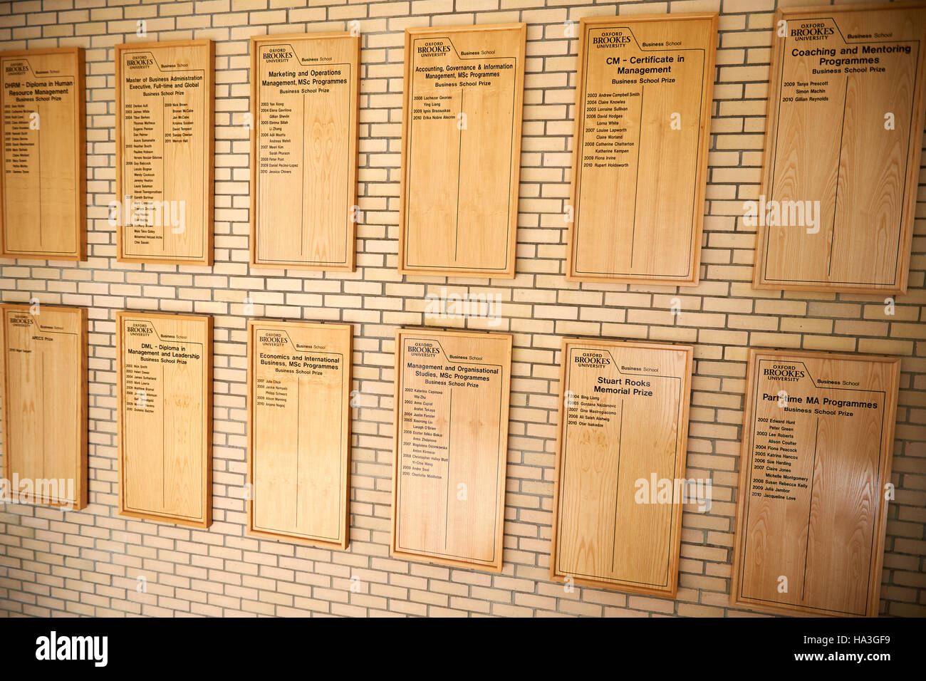 Honours boards in the post-graduate centre at the Oxford Brookes University Business School Stock Photo