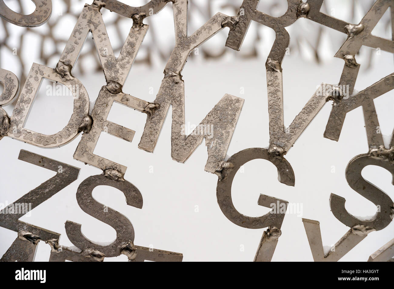Detail of Jaume Plensa sculpture 'Shadows II' showing stainless steel letters, Montreal Museum of Fine Arts, - Stock Image