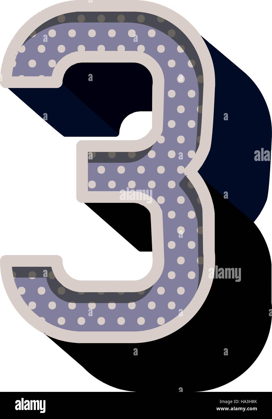 three-dimensional number three dotted in purple color - Stock Vector