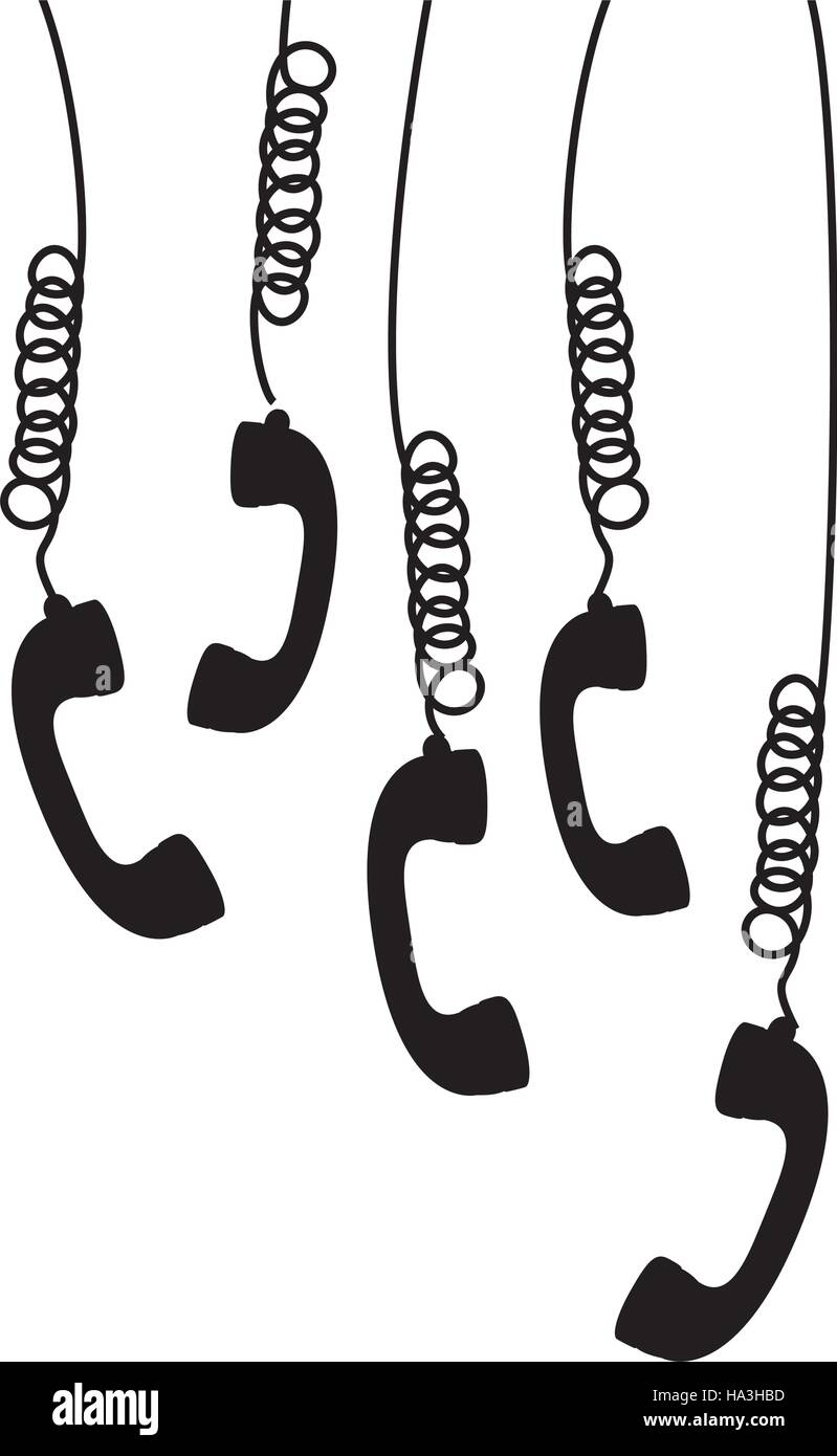 multiple handset hanging of the cord - Stock Image