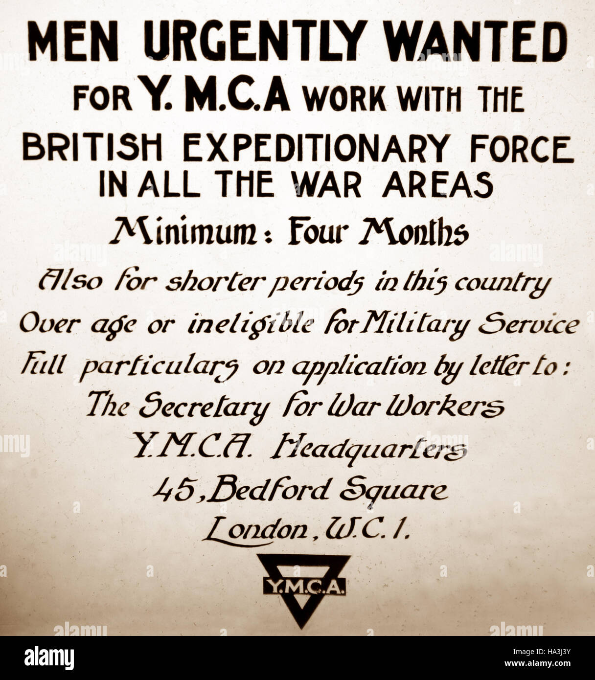 YMCA Volunteers Wanted Poster During WW1