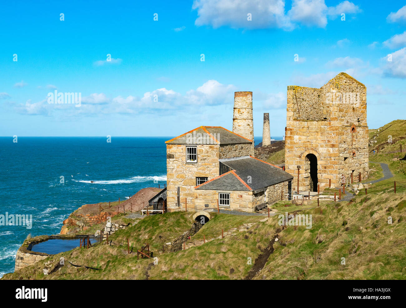 The restored Levant mine at Pendeen in Cornwall, England, UK - Stock Image