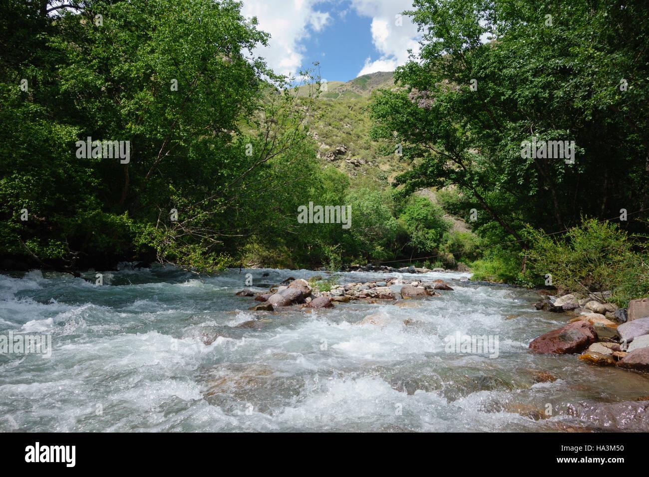 Mountain river in Turgen Gorge near Almaty, Kazakhstan - Stock Image