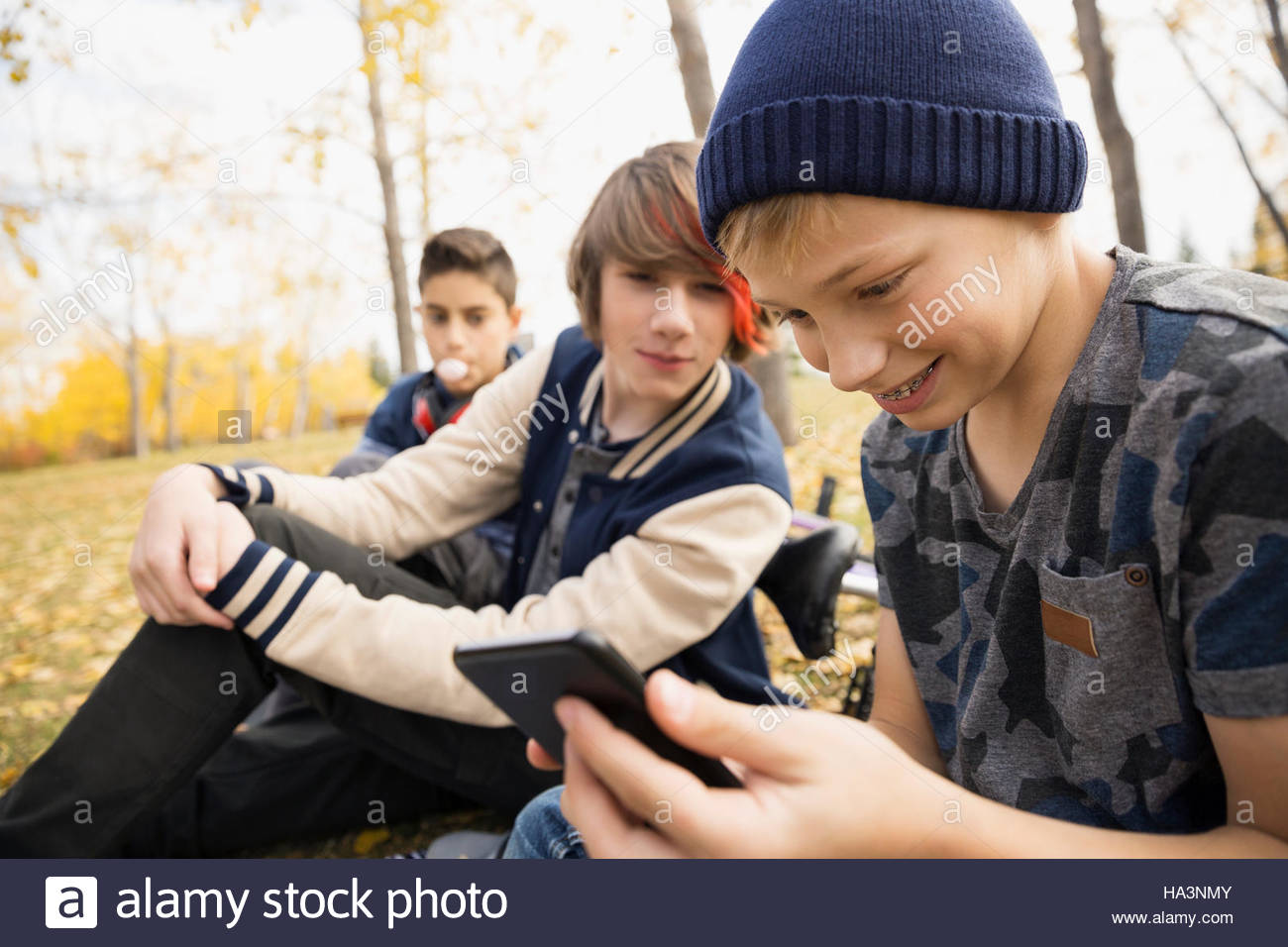 Tween boys texting with cell phone in autumn park - Stock Image
