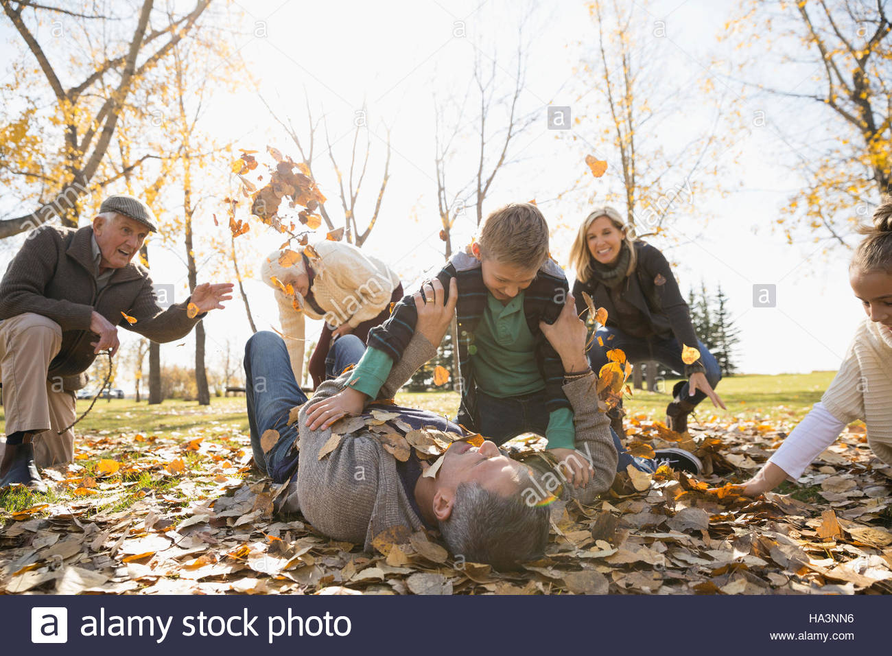 Family playing throwing autumn leaves in sunny park - Stock Image