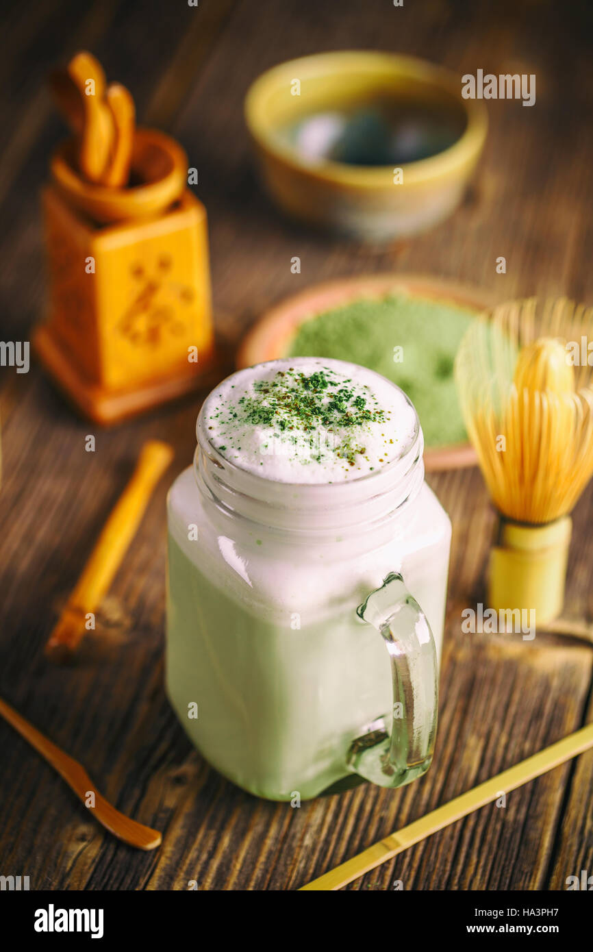 Green tea smoothie blended beverage with matcha powder - Stock Image