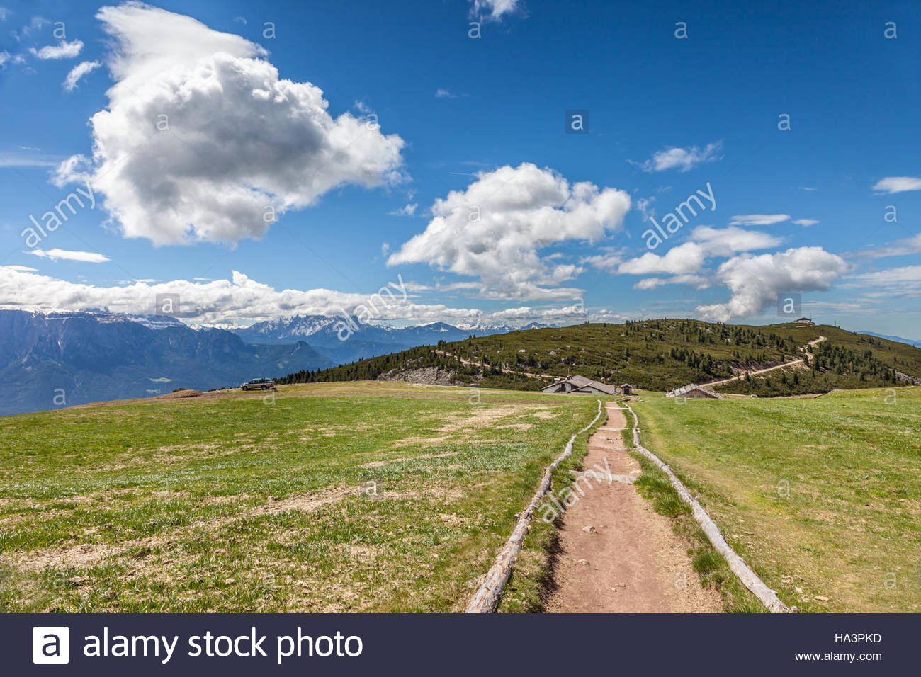 Ascent from the Schwarzseespitze to the Rittnerhorn (2260 m), Ritten, South Tyrol, Italy - Stock Image