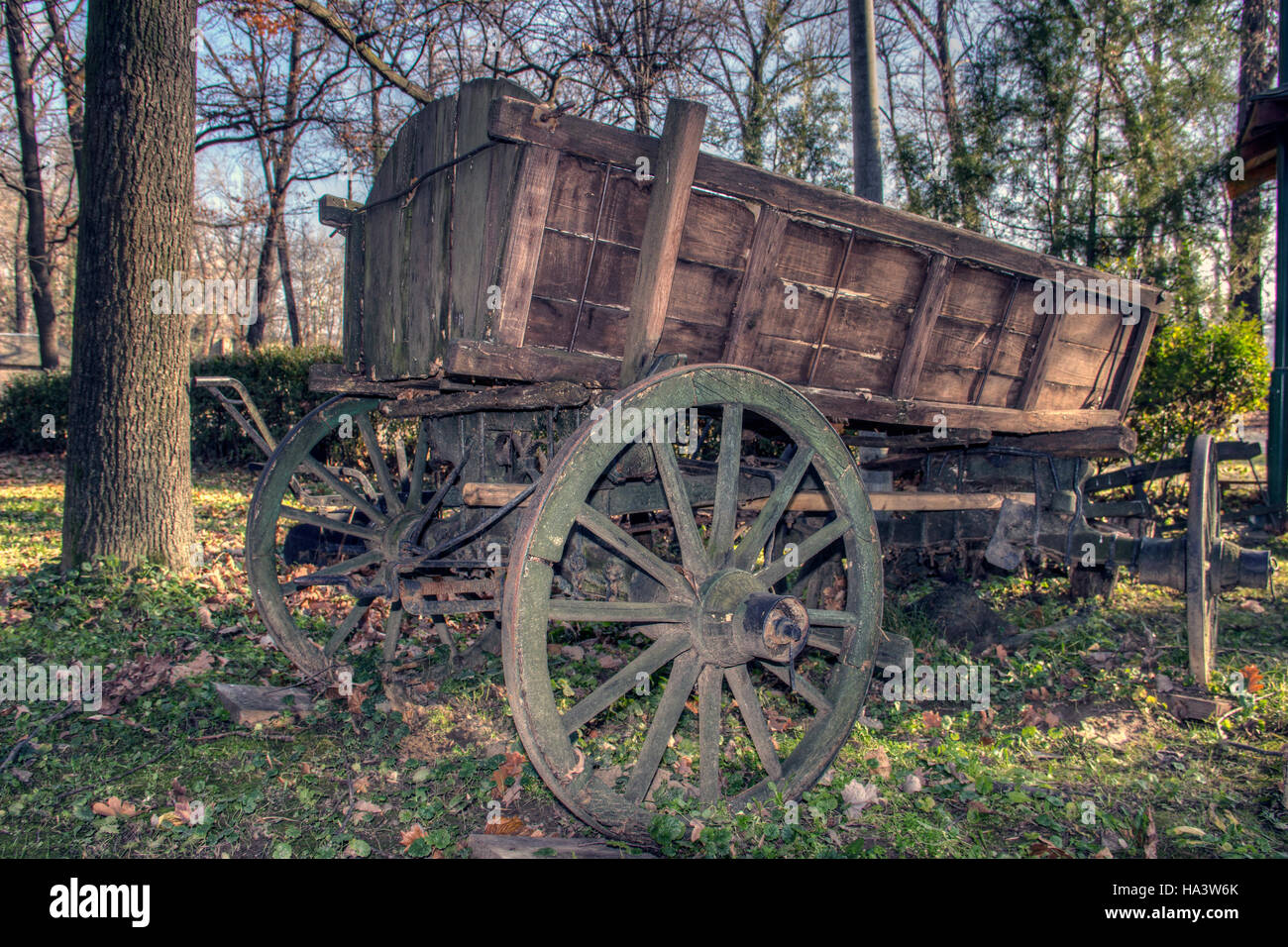 Serbia - Worn out carriage in the countryside - Stock Image