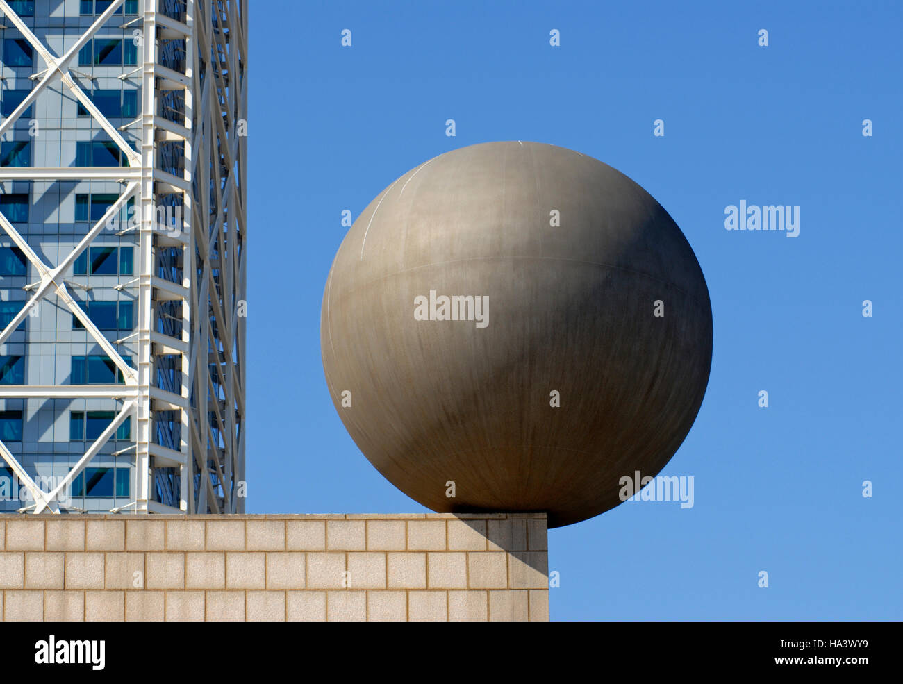 Frank Owen Gehry's Sphere (Esfera) sculpture at Port Olimpic, Barcelona's waterfront, Catalonia, Spain, - Stock Image