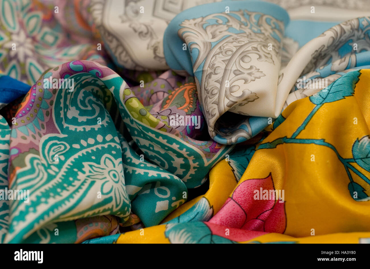 The multicoloured neckerchiefs - Stock Image