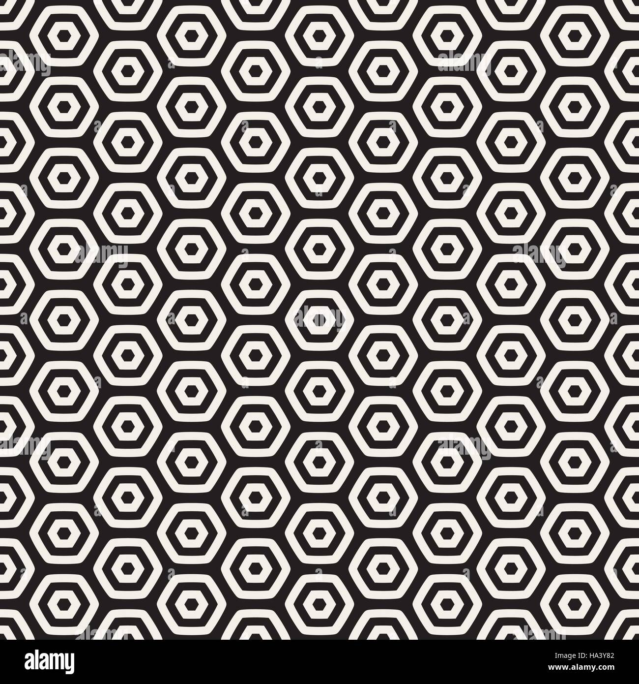 Vector Seamless Black And White HoneyComb Grid Geometric Pattern