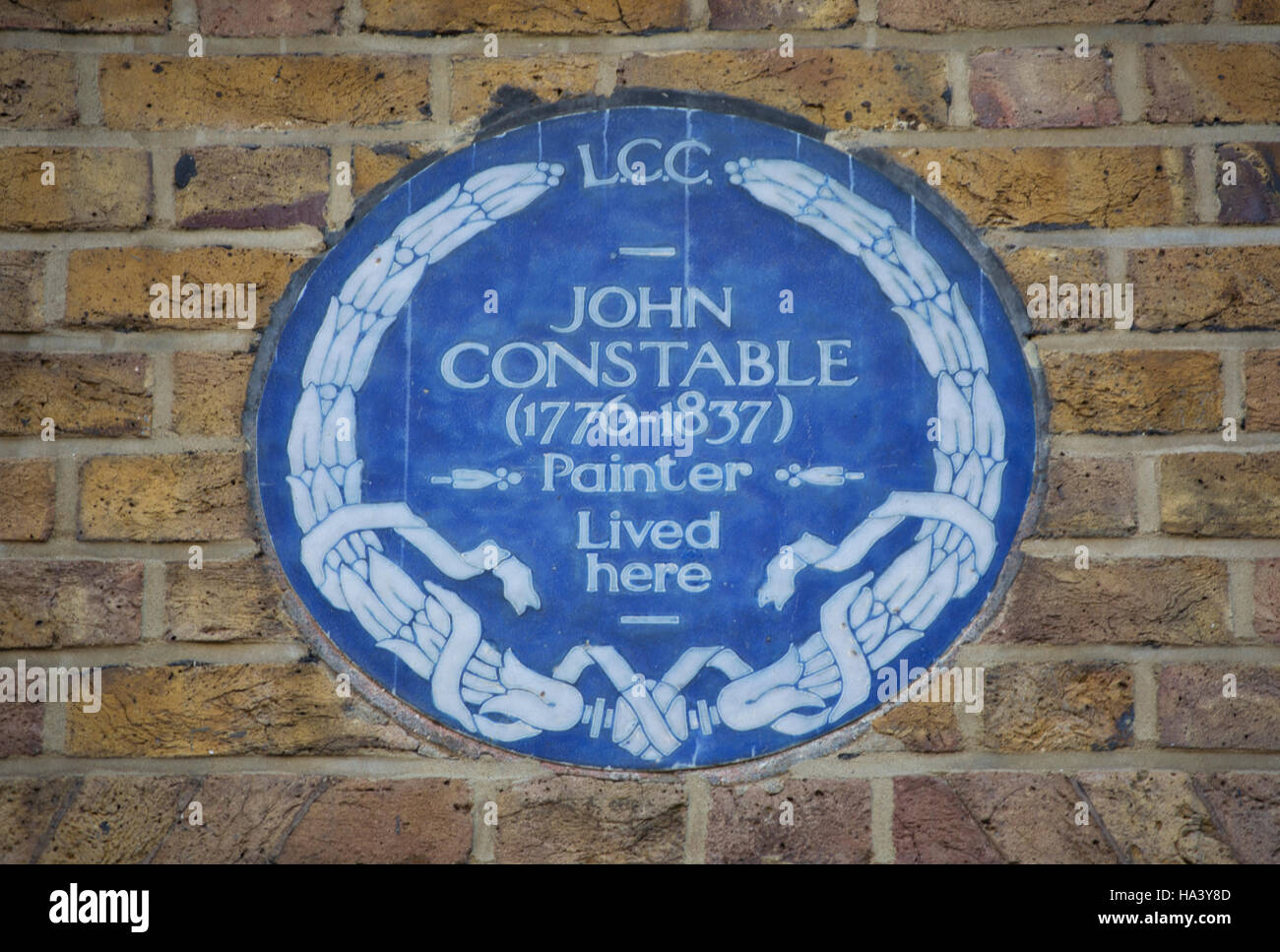 london county council blue plaque marking a home of painter john constable, hampstead, london, england Stock Photo