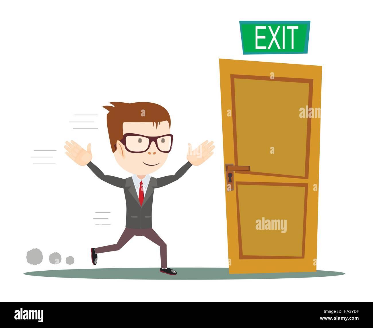 Businessman running to opened door - Stock Image