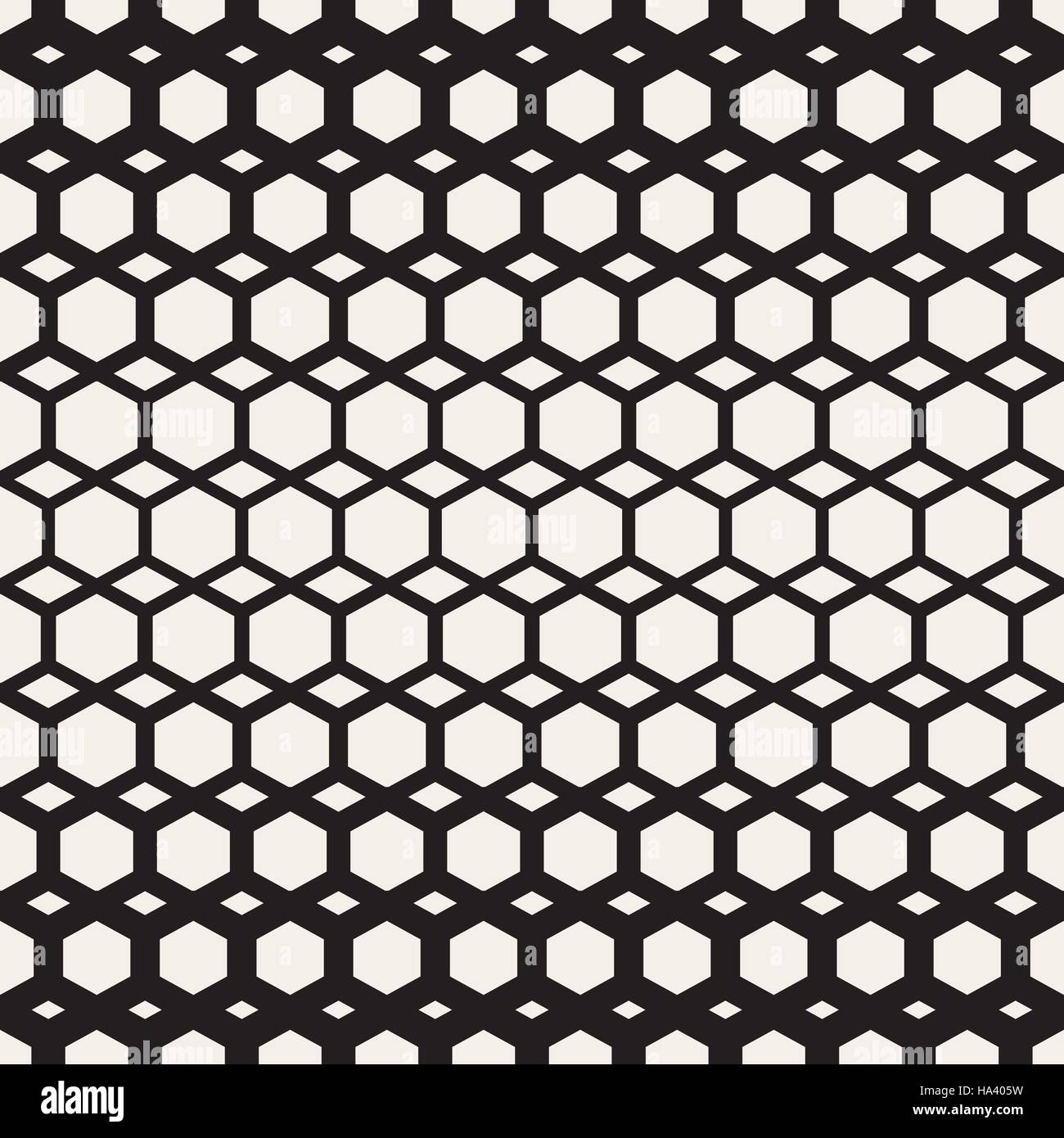 Vector Seamless Black And White Hexagon Grid Geometric Pattern - Stock Image