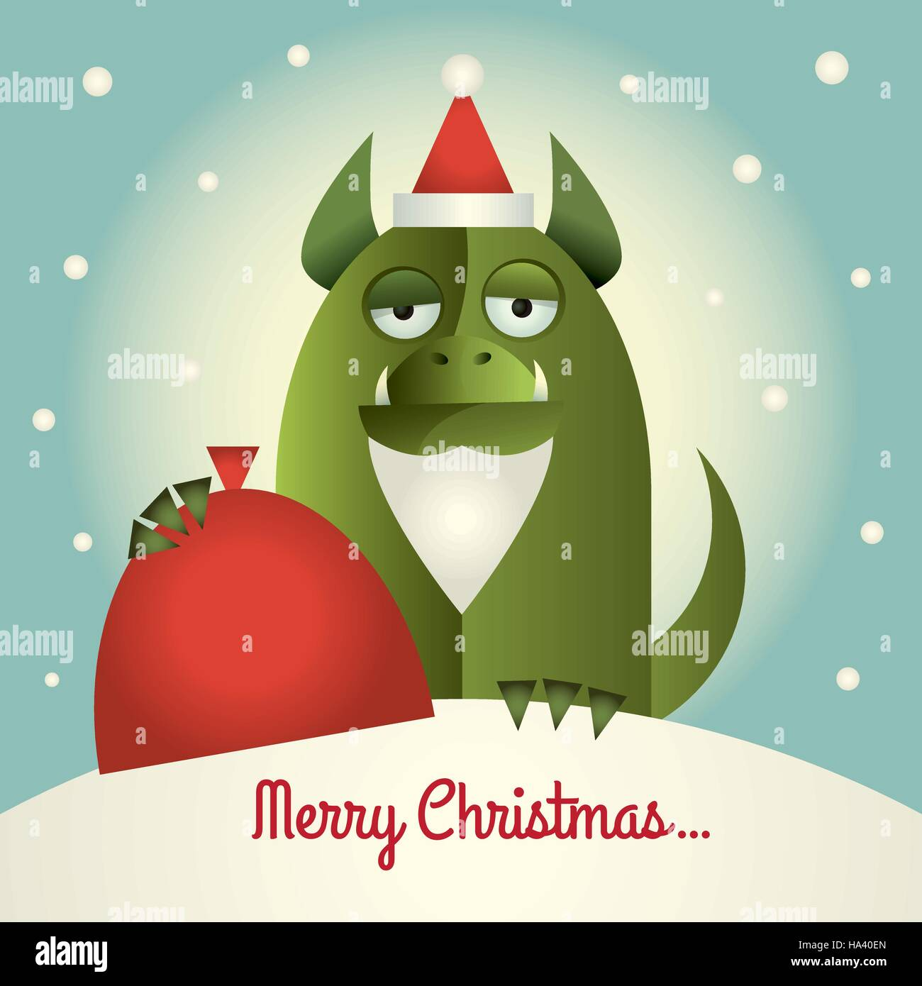 Vector illustration of a green monster with Santa beard and hat holding a red sack. Text:  Merry Christmas. Retro Stock Vector