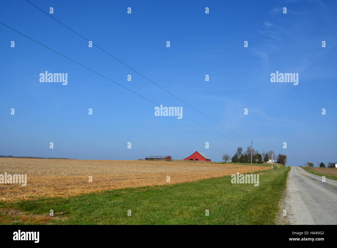 Farm fields in the Midwestern states are harvested in advance of winter. - Stock Image
