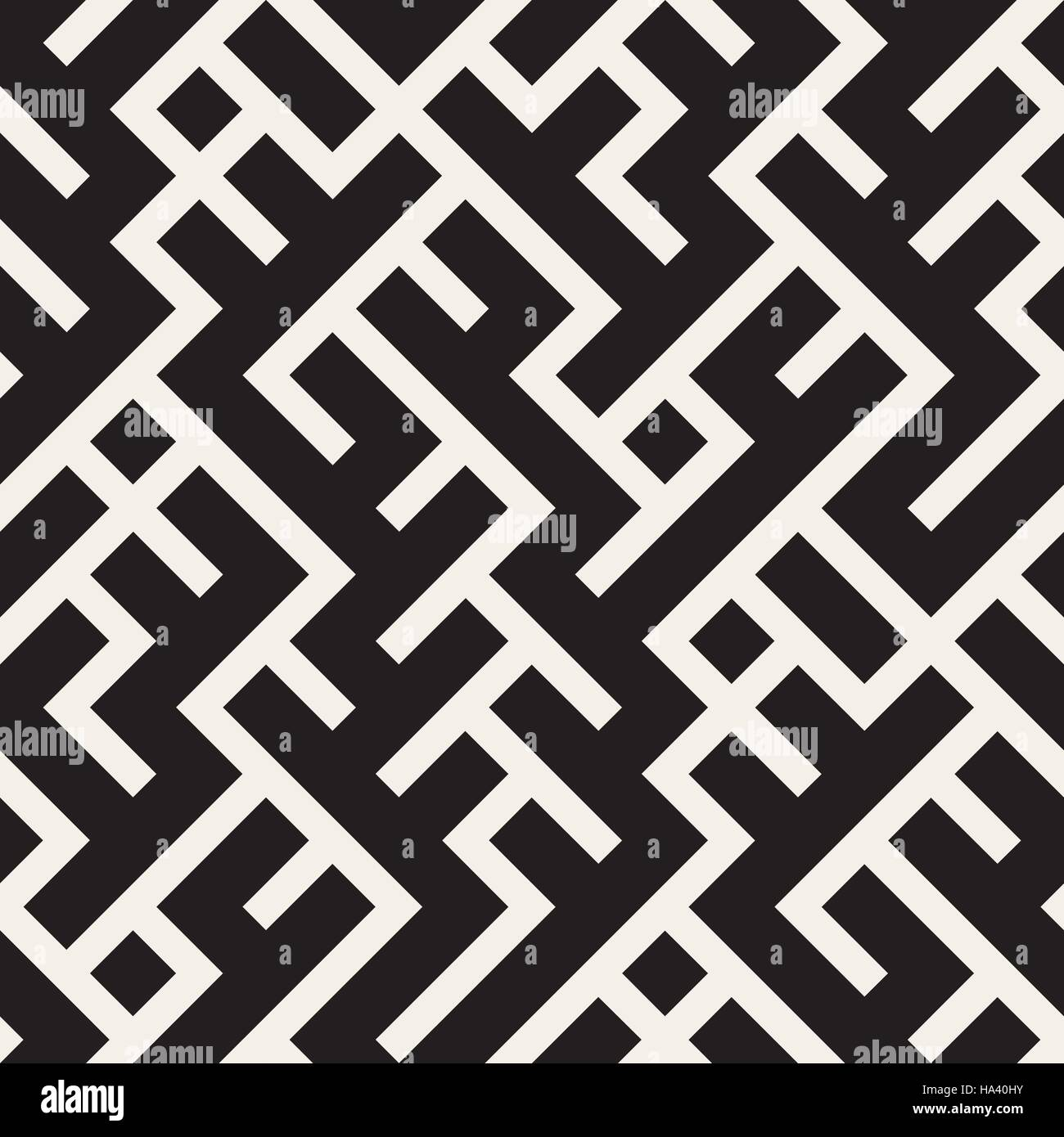 Vector Seamless Black and White Maze Lines Pattern - Stock Image