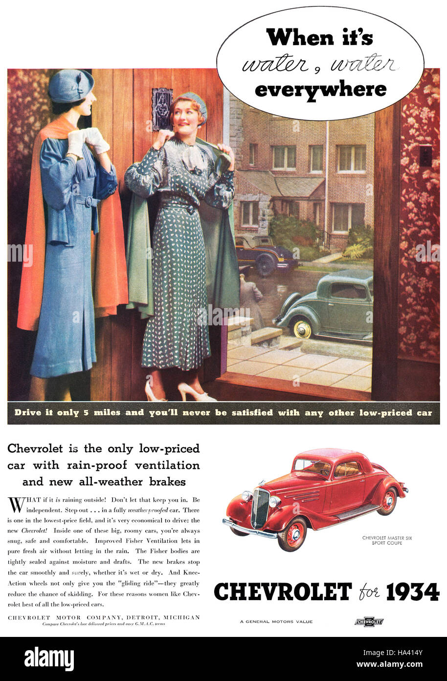 1934 U.S. advertisement for Chevrolet - Stock Image