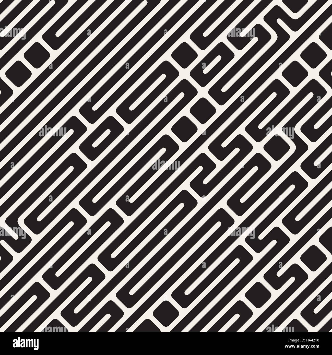Vector Seamless Black and White Diagonal Maze Lines Pattern - Stock Image