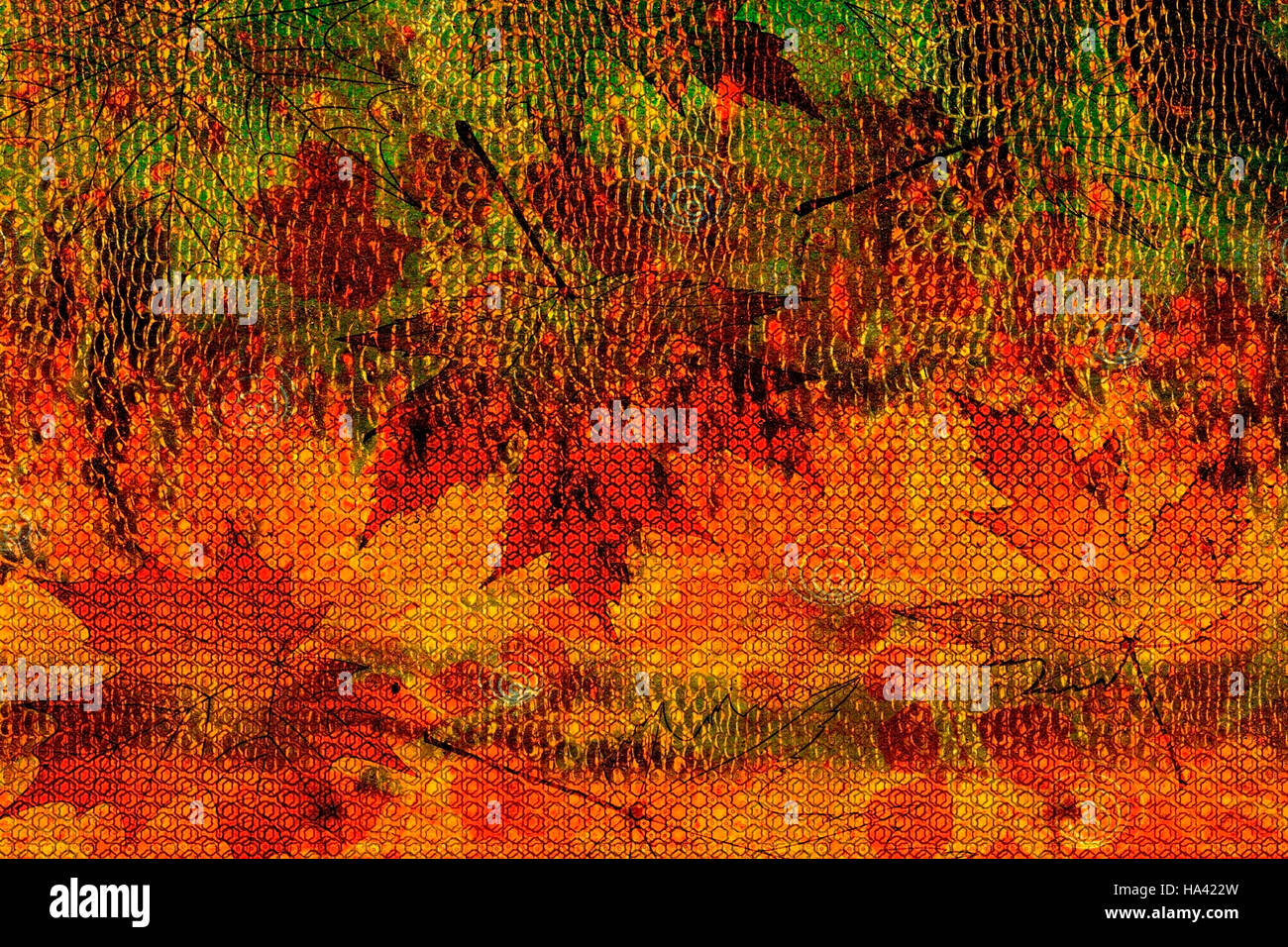 abstract autumn bright background elements of green, red-orange made of fallen autumn leaves Stock Photo