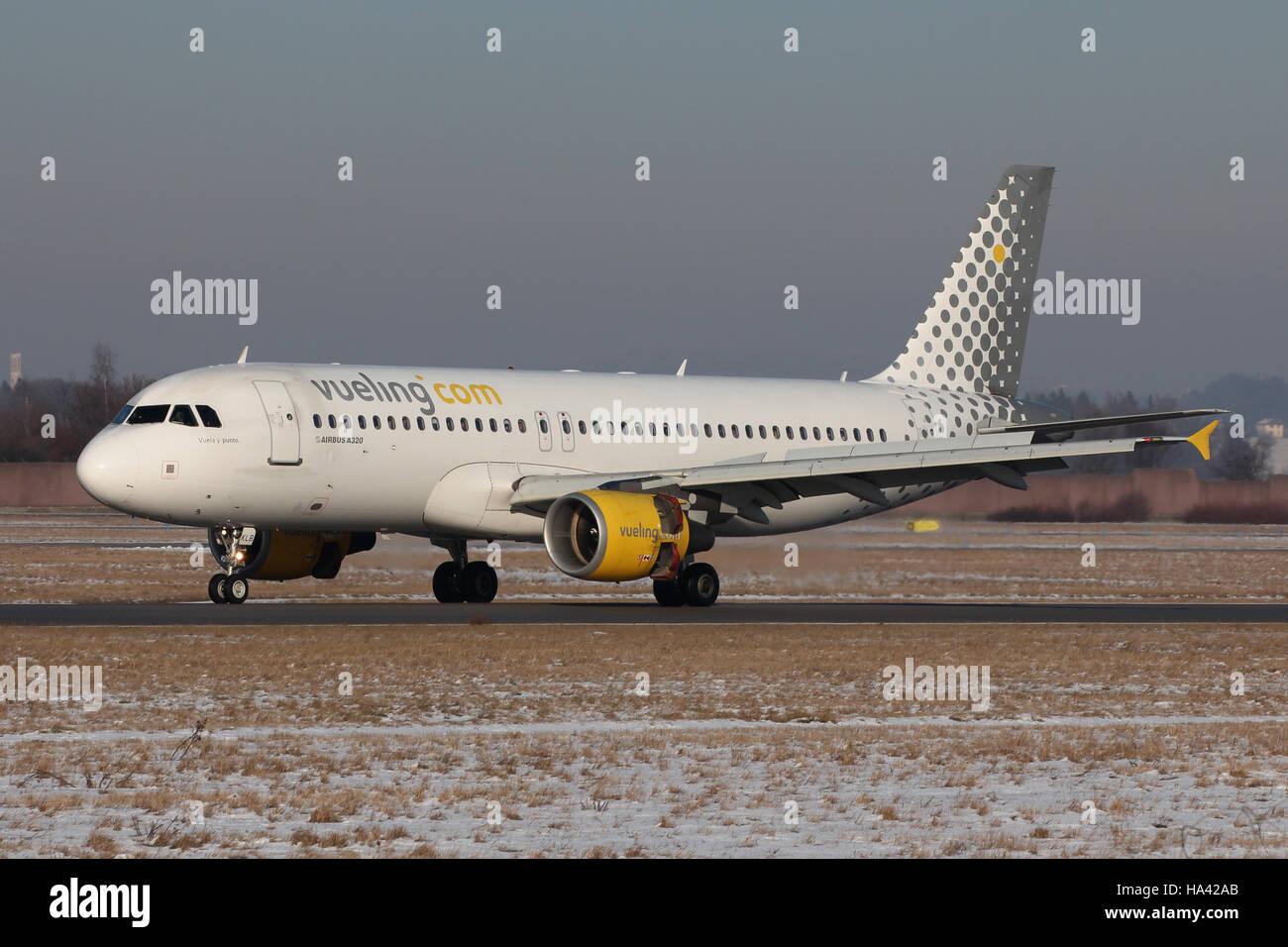 Stuttgart, Germany – January 20, 2016: Vueling, Airbus A320 at Stuttgart Airport - Stock Image