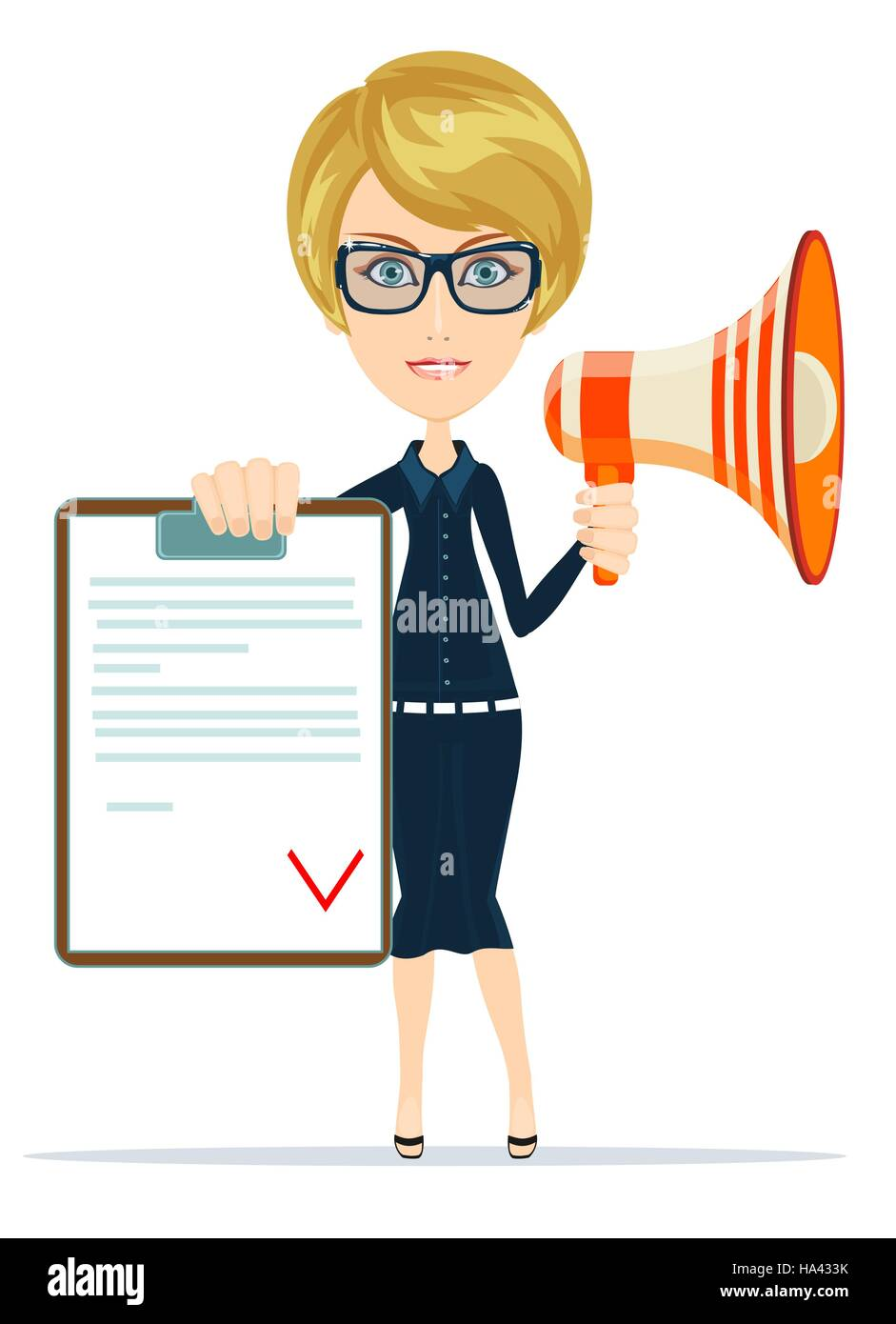 Business woman holding contract and megaphone. - Stock Vector