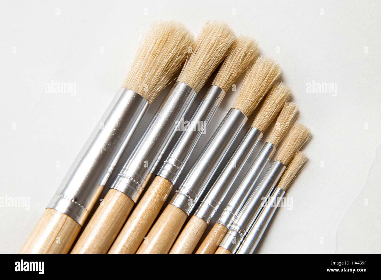A set of artists brushes on a plain white background, different sizes and widths. - Stock Image