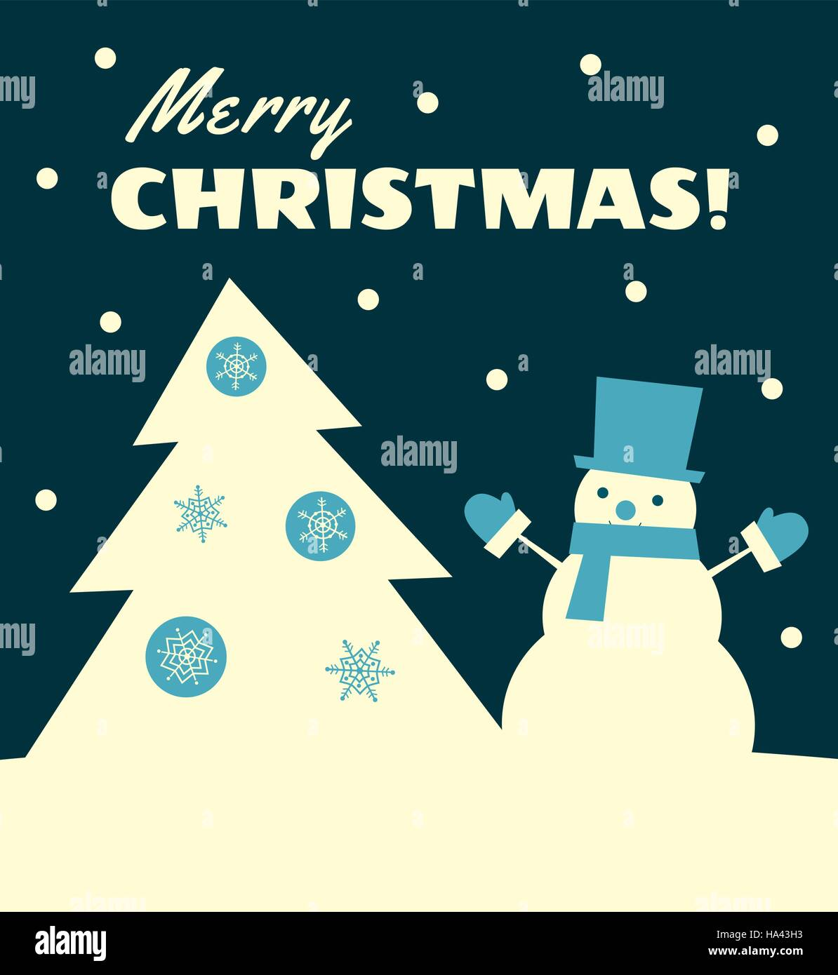 Vector illustration. Retro styled greeting card with a snowman in a top hat standing near a Christmas tree. Dark - Stock Vector