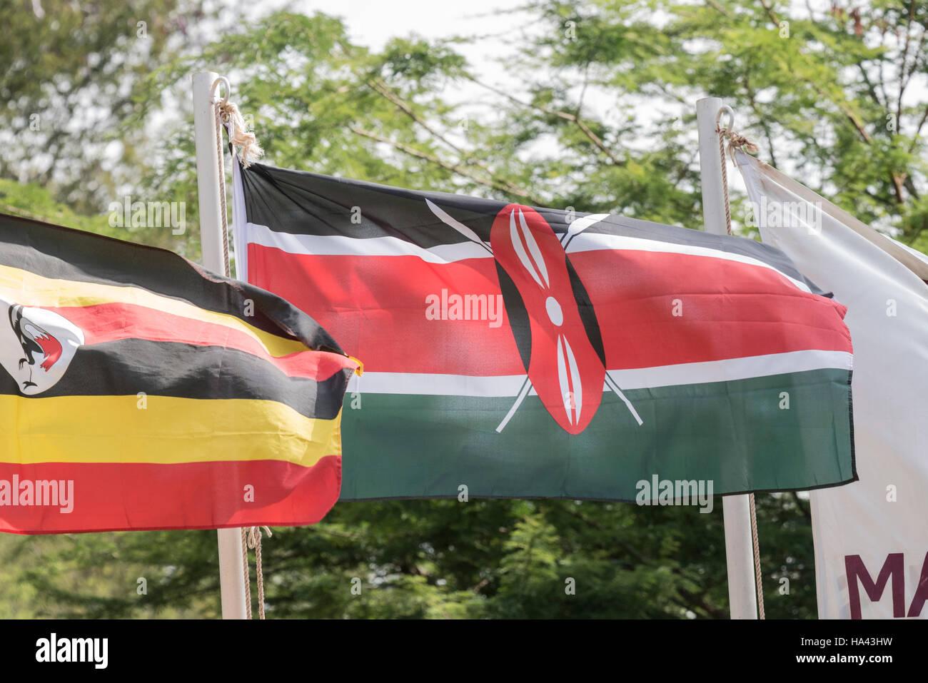 The Kenyan  flag flying Stock Photo