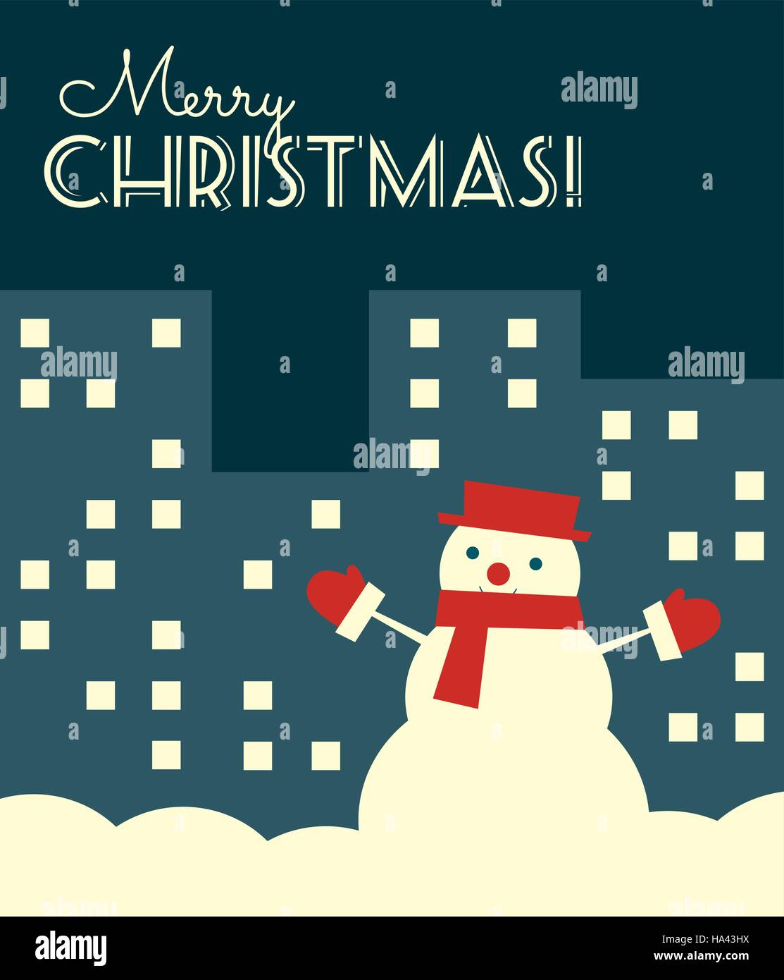 Vector illustration. Retro styled Christmas card with a snowman in a night city. Vertical format. - Stock Vector