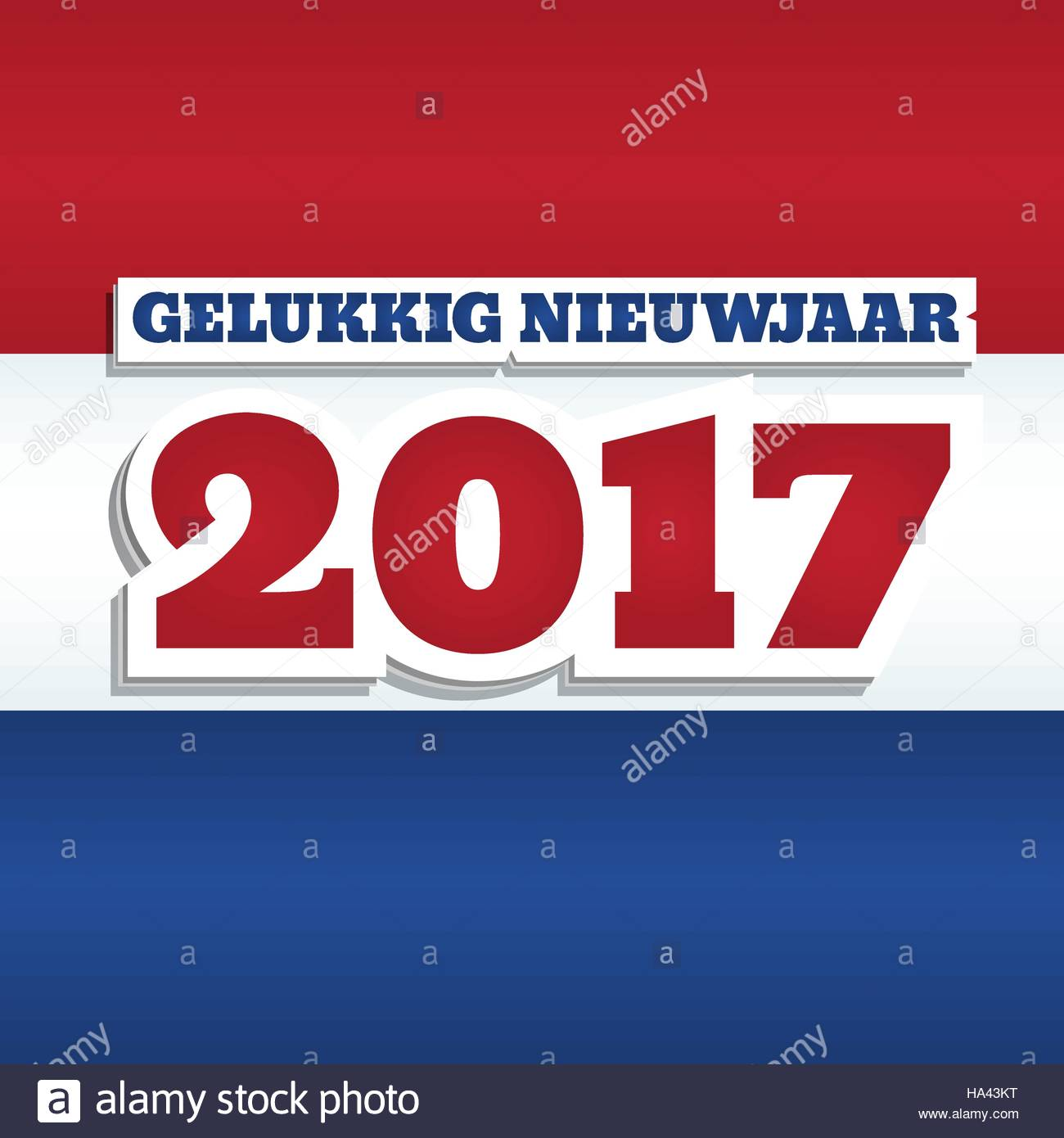 vector greeting card with text happy new year 2017 in dutch abstract background with colors of national flag of netherlands square format paper s