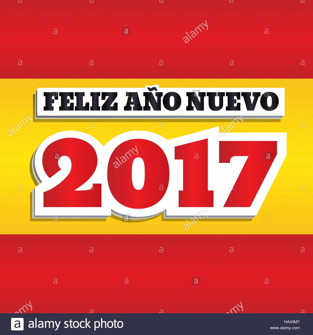 Vector greeting card with text happy new year 2017 in spanish vector greeting card with text happy new year 2017 in spanish abstract background with colors of national flag of spain square format paper style m4hsunfo