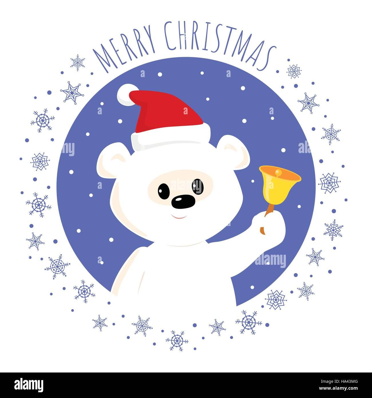 Christmas greeting card. Vector cartoon illustration of a cute baby polar bear in a Santa hat ringing a bell. Square Stock Vector