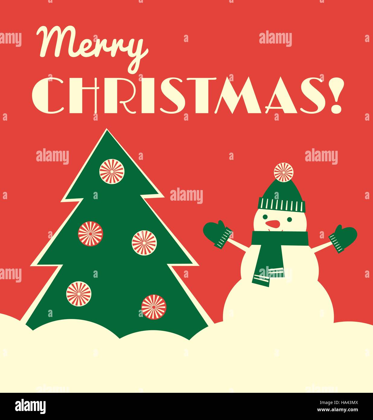 Vector illustration. Retro styled greeting card with a snowman in a hat, mittens and scarf standing near a Christmas - Stock Vector