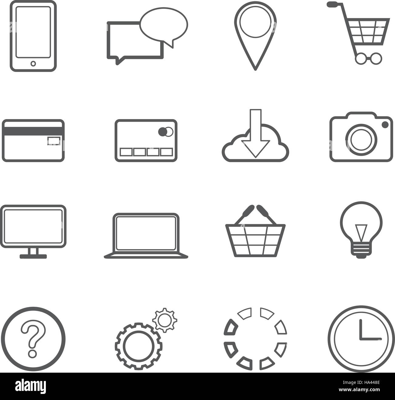 Web Shopping Online Vector Line Icons - Stock Vector
