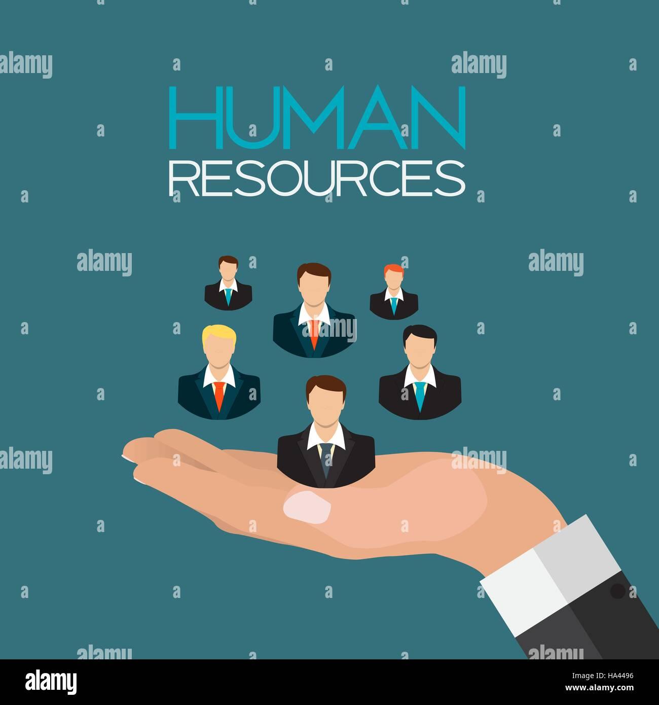 Human Resources Concept Flat Design. Vector Illustration - Stock Vector