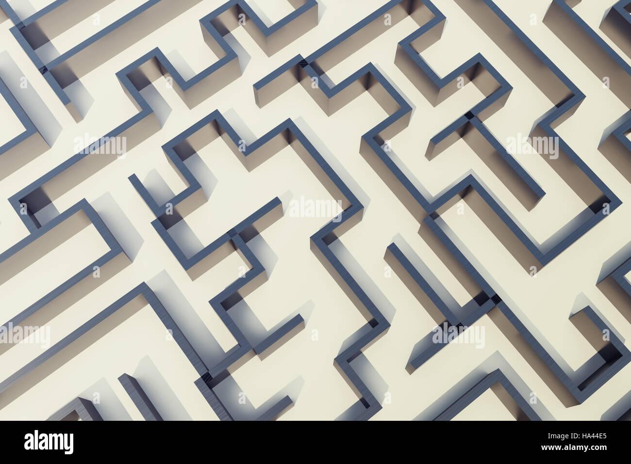 3d illustration cocrete labyrinth, complex problem solving concept - Stock Image