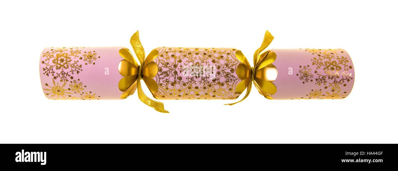 Luxury Christmas Cracker on a white background - Stock Image