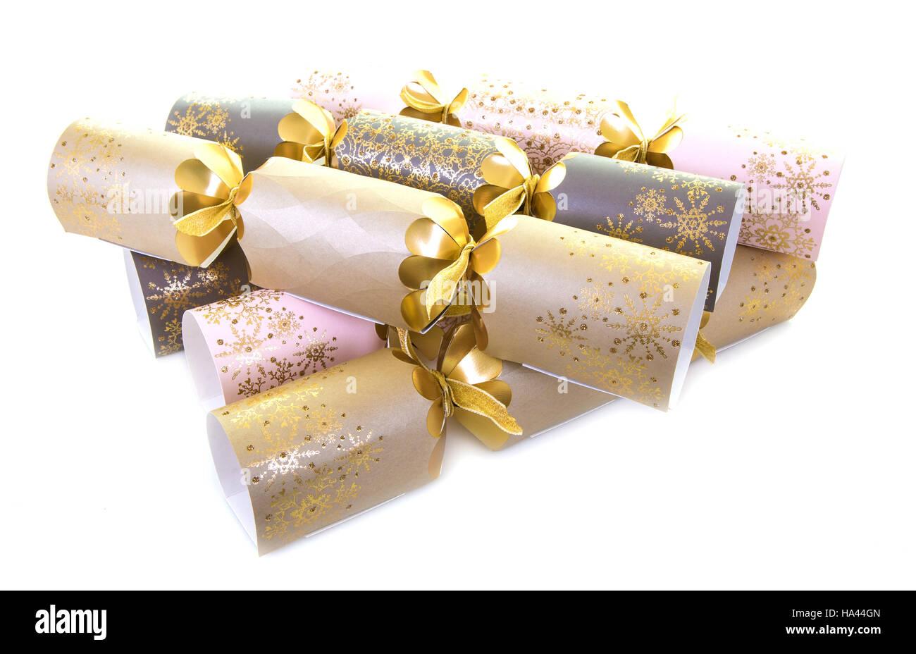 luxury christmas crackers on a white background stock image