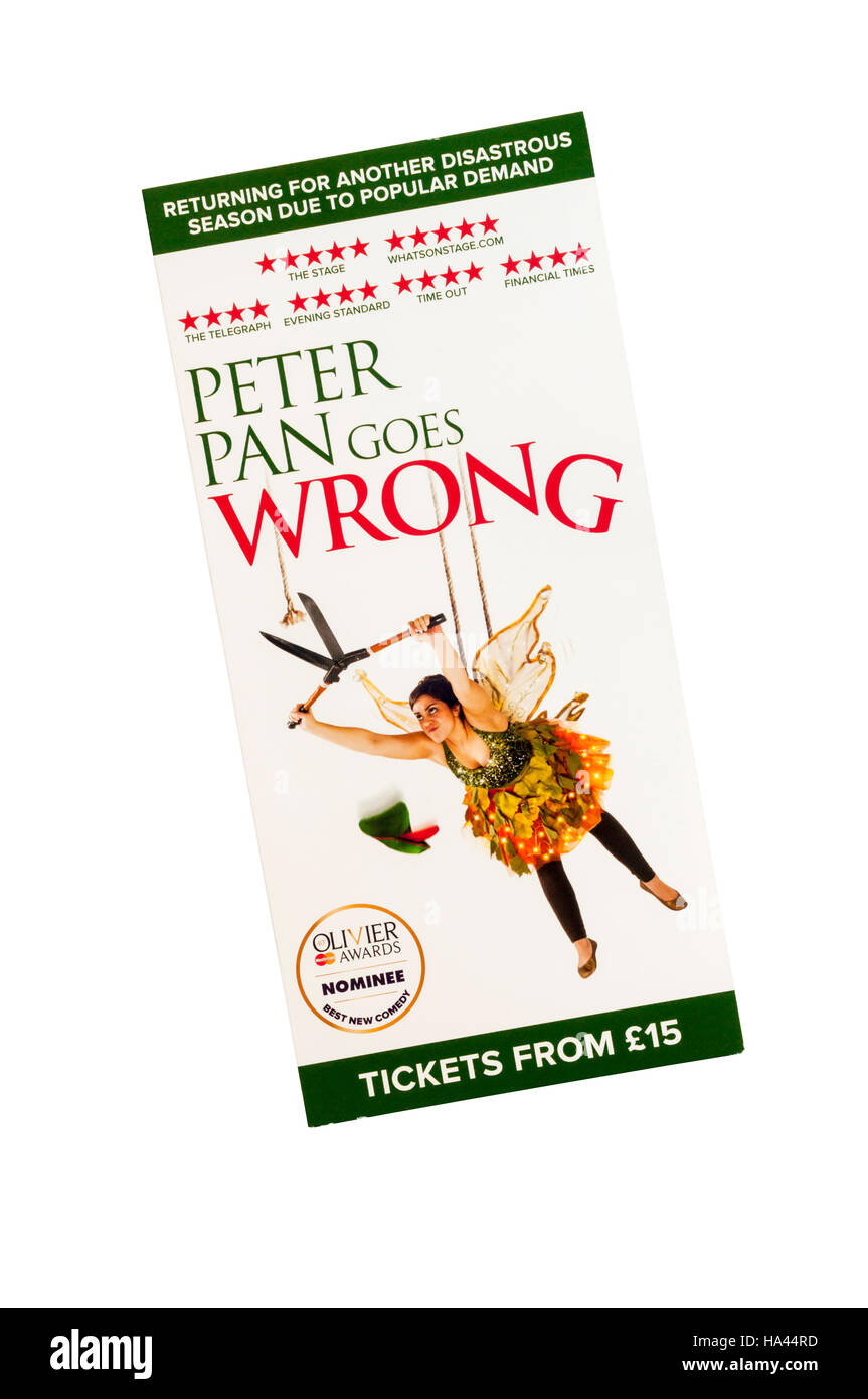 Promotional flyer for 2016 Apollo Theatre production of Peter Pan Goes Wrong. - Stock Image