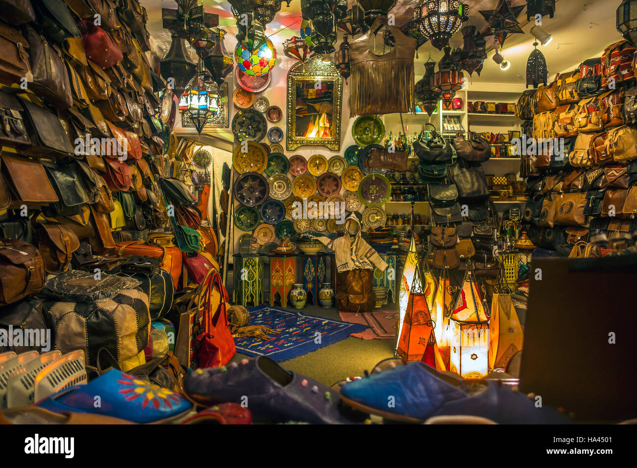 Marakesh Moroccan Ethnic and Leather Goods Shop Palace Street Canterbury Kent - Stock Image