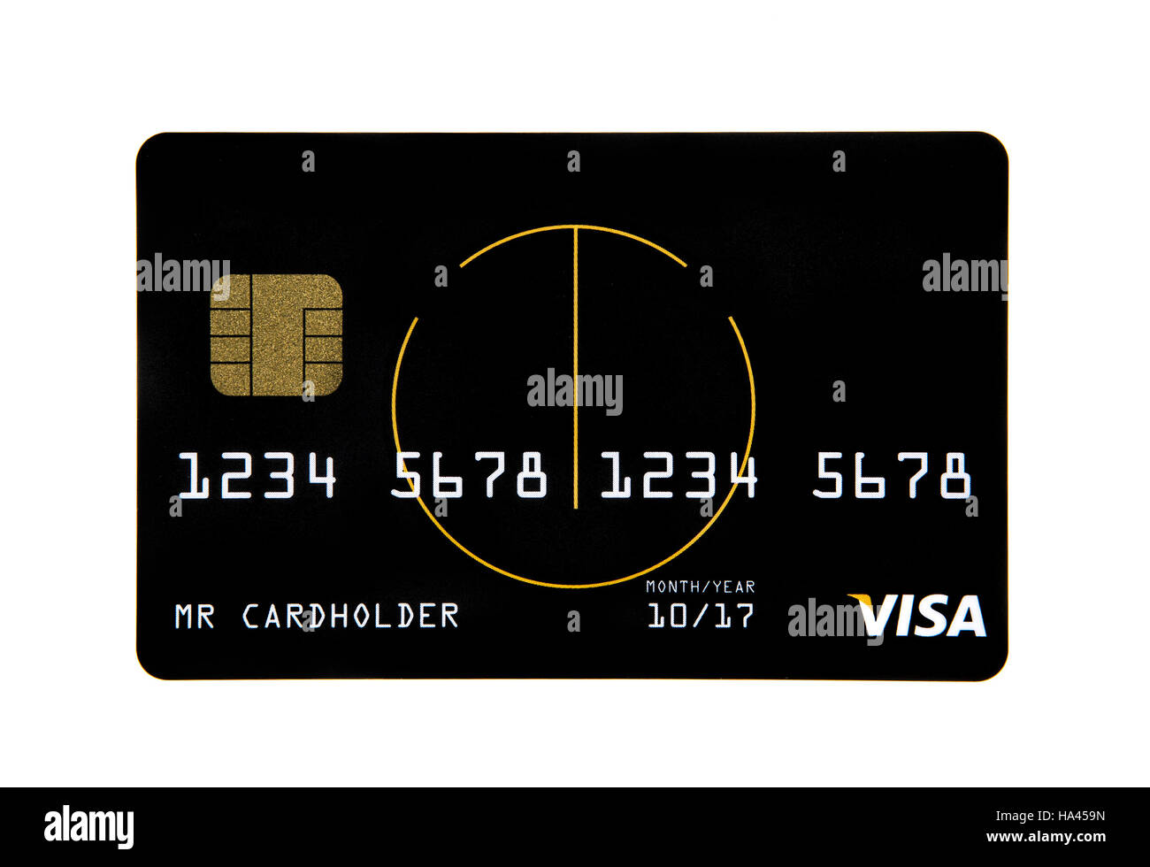 Visa credit card with a smart chip  on a white background - Stock Image