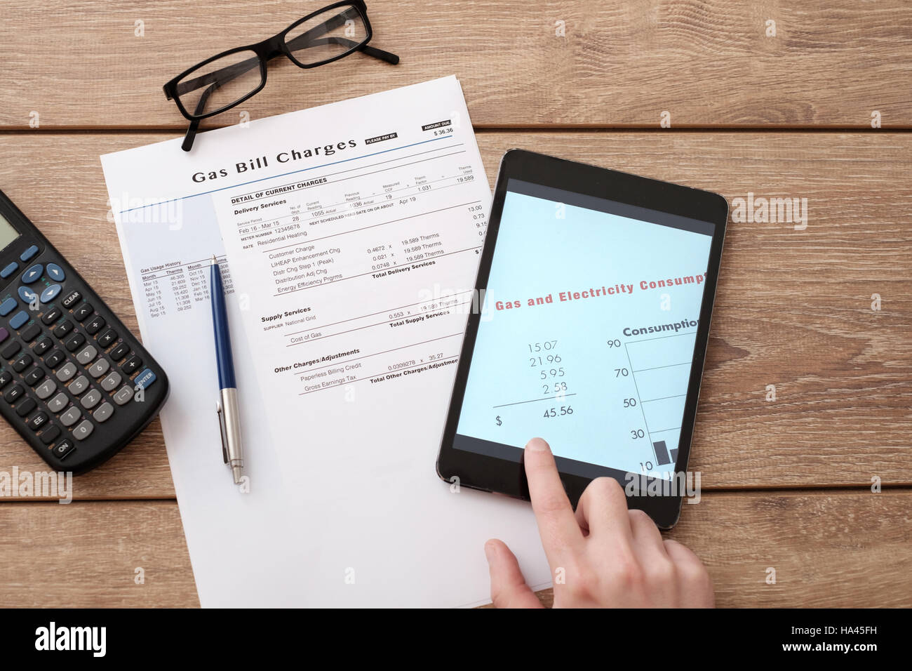 Gas bill charges form for online  calculation - Stock Image