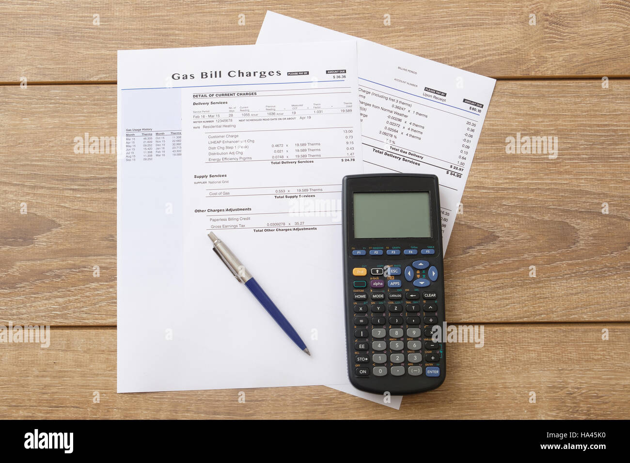 Gas bill charges paper form on the table Stock Photo